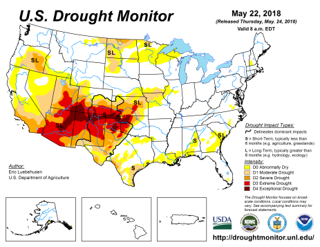 US Drought Monitor May 22, 2018.