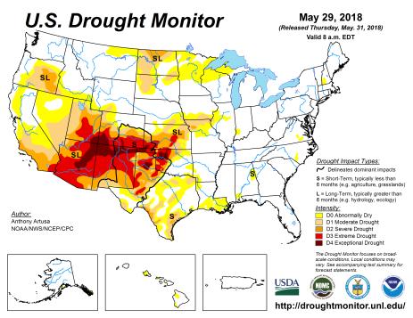 US Drought Monitor May 29, 2018.