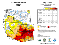 West Drought Monitor May 8, 2018.