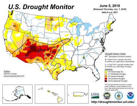 US Drought Monitor June 5, 2018.