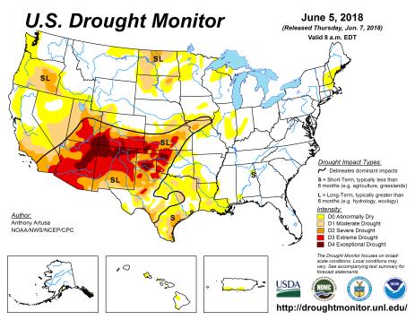 US Drought Monitor June 5, 2018.