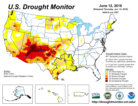 US Drought Monitor June 12, 2018.
