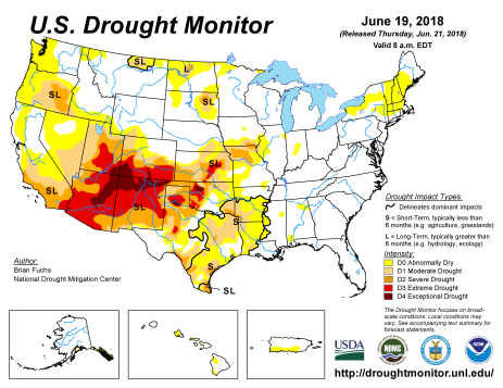 US Drought Monitor June 19, 2018.