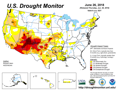US Drought Monitor June 26, 2018.