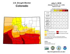Colorado Drought Monitor July 3, 2018.