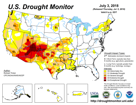 US Drought Monitor July 3, 2018.
