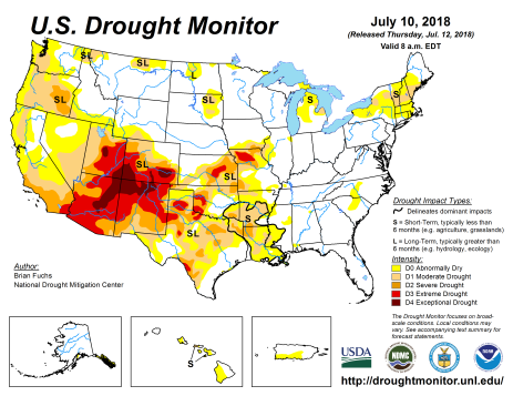 US Drought Monitor July 10, 2018.