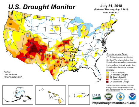 US Drought Monitor July 31. 2018
