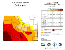 Colorado Drought Monitor August 7, 2018.