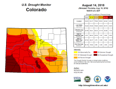 Colorado Drought Monitor August 16, 2018.