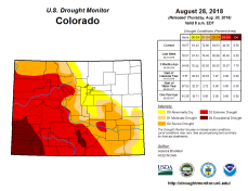 Colorado Drought Monitor August 28, 2018.
