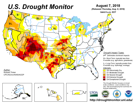 US Drought Monitor August 7, 2018.