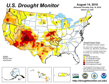 US Drought Monitor August 16, 2018.
