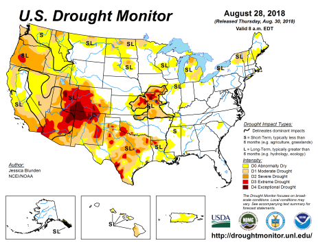 US Drought Monitor August 28, 2018.