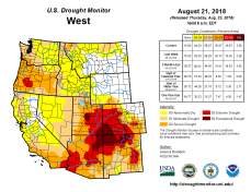 West Drought Monitor August 21, 2018.