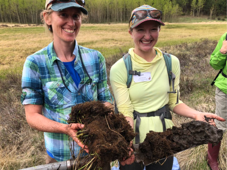 CNHP Wetland Ecologists Joanna Lemly and Sarah Marshall hold a wetland soil core taken from Todd Gulch Fen at 10,000 feet in the Colorado Rockies. The dark, carbon-rich core is about 3 feet long. Living plants at its top provide thermal insulation, keeping the soil cold enough that decomposition by microbes is very slow. William Moomaw, Tufts University, CC BY-ND