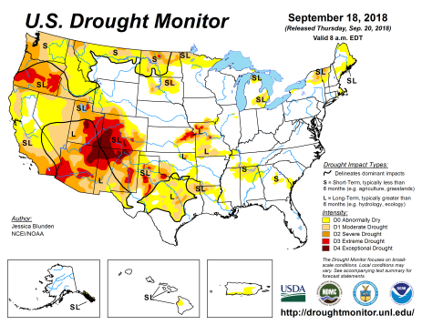 US Drought Monitor September 18, 2018.