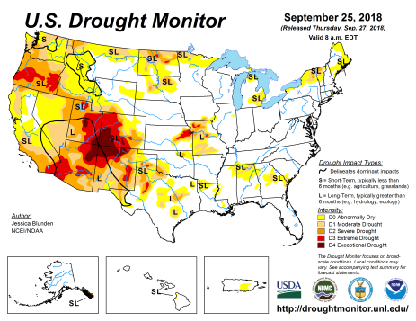 US Drought Monitor September 25, 2018.