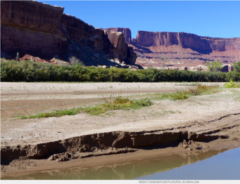 A big beach on the lower Green River in late September is indicative of the low flows in 2018, which have caused water levels in Lake Powell to continue to drop. Plans to bolster flows in the reservoir by sending water down the Green and Colorado rivers is raising hard questions for Western Slope irrigators.