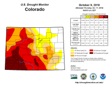 Colorado Drought Monitor October 9, 2018.