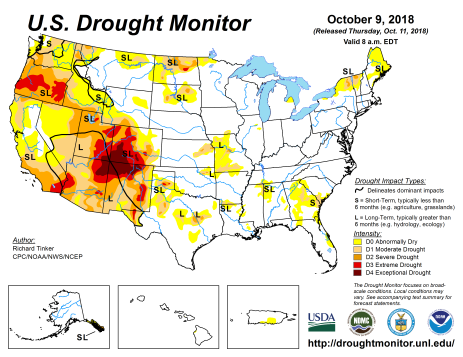 US Drought Monitor October 9, 2018.