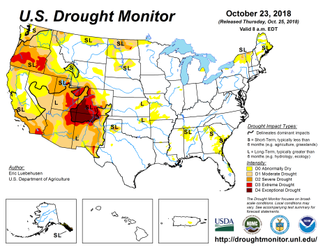 US Drought Monitor October 23, 2018.