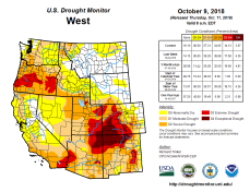 West Drought Monitor October 9, 2018.