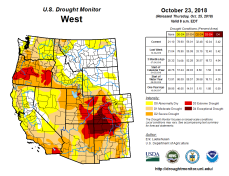 West Drought Monitor October 23, 2018.