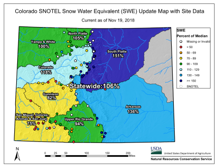 Colorado basin-filled snowpack map November 19, 2018 via the NRCS,