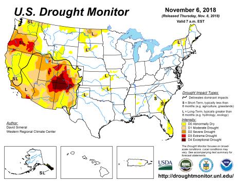 US Drought Monitor November 6, 2018.