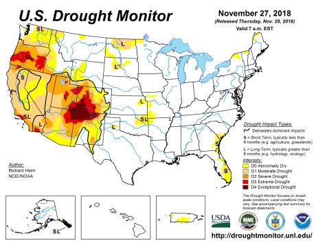 US Drought Monitor November 27, 3018.