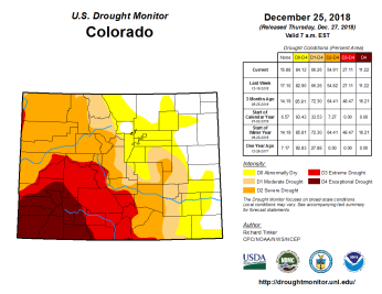 Colorado Drought Monitor December 25, 2018.