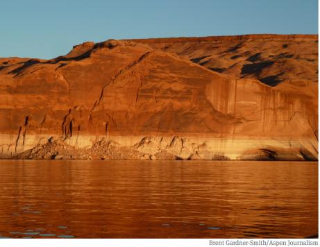 Lake Powell, and an increasingly familiar bathtub ring. Photo credit: Aspen Journalism/Brent Gardner-Smith