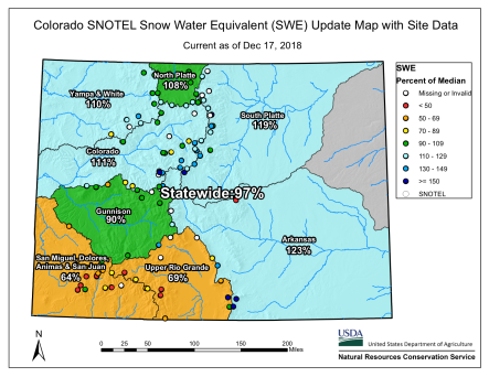 Statewide Snowpack basin-filled map December 17, 2018 via the NRCS.