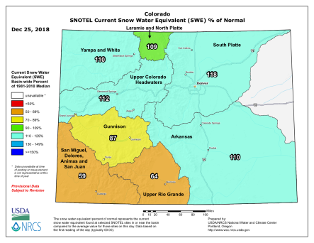 Colorado basin-filled snowpack map December 25, 2018 via the NRCS.