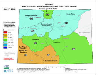 Statewide SNOTEL basin-filled map December 27, 2018 via the NRCS.