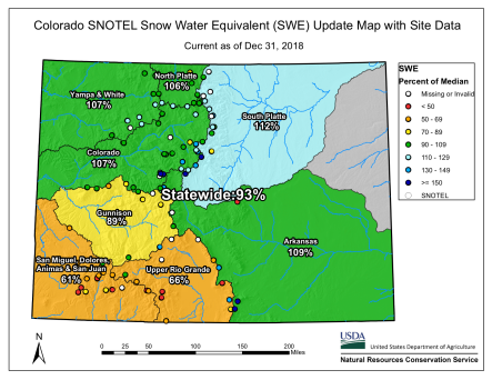 Colorado statewide basin-filled snowpack map December 31, 2018 via the NRCS.