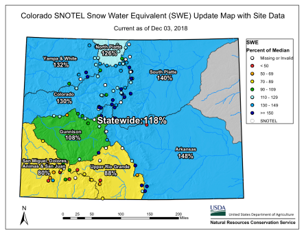 Colorado snowpack basin-filled map December 3, 2018 via the NRCS.