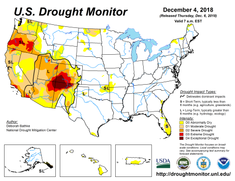 US Drought Monitor December 4, 2018.