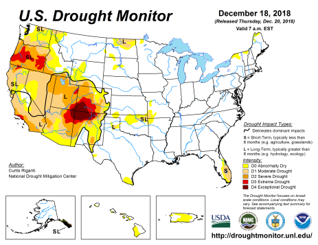 US Drought Monitor December 18, 2018.