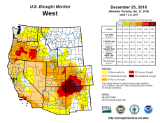 West Drought Monitor December 25, 2018.