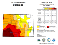 Colorado Drought Monitor January 1, 2019.