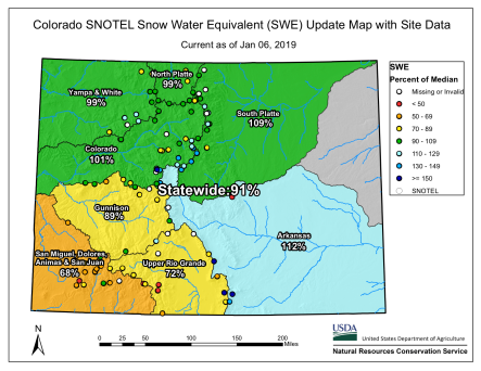 Statewide basin-filled snowpack map Janiuary 6, 2019 via the NRCS.