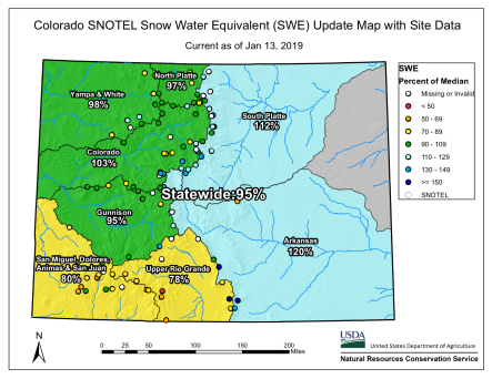 Statewide snowpack basin-filled map January 13, 2019 via the NRCS.