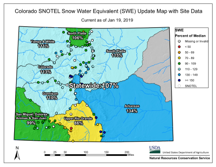 Statewide basin-filled snowpack map January 19, 2019 via the NRCS.