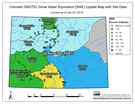 Statewide basin-filled snowpack map January 20, 2019 via the NRCS.