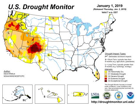 US Drought Monitor January 1, 2019.