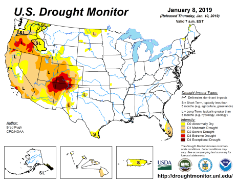US Drought Monitor January 8, 2019.