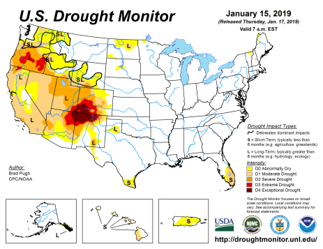 US Drought Monitor January 15, 2019.