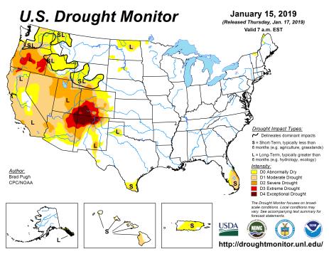 US Drought Monitor January 15, 2019.